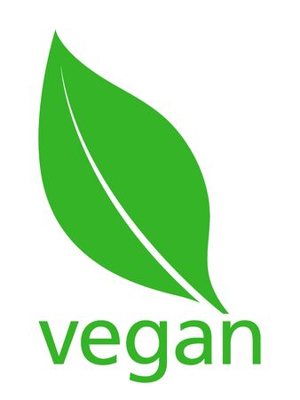 vegetal: Vegan with a single fresh green leaf above lowercase text - vegan - on a white background, simple stylish vector illustration