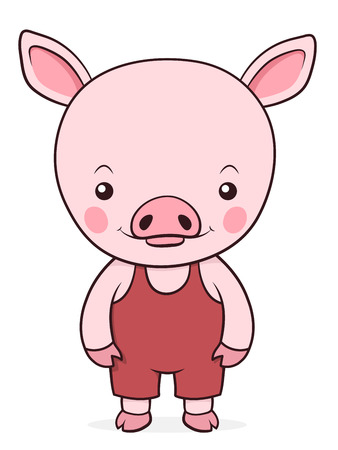 viewer: Adorable isolated little pink pig in red dungarees standing looking at the viewer, cartoon vector design suitable for kids