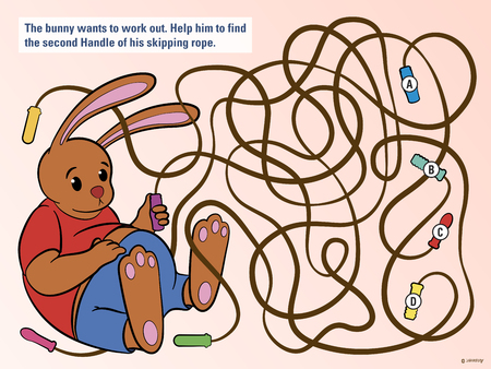 Stimulating educational kids puzzle to help the bunny untangle his skipping rope from three others so that he can do his daily exercise and workout, cute vector cartoon illustration