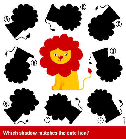 educative: Educative game for children meant to stimulate intelligence through matching young lion with red mane with the right shadow, cute vector cartoon illustration Illustration