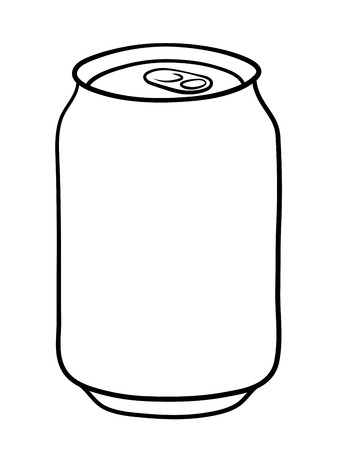 soda: Soda can doodle illustration in black and white