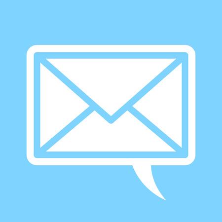 comunicación escrita: Bocadillo con un sobre conceptual de verbal frente a la correspondencia escrita electrónico y la comunicación, silueta ilustración vectorial en azul