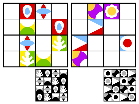 stimulation: Colorful kids sudoku puzzle with multicolored geometric patterns in the squares in the grid for mental stimulation and entertainment with two variations and answers, vector design Illustration