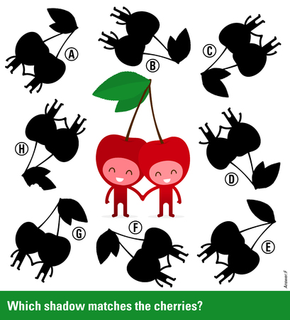 shadow match: Which shadow - Educational kids puzzle with cute smiling cherry characters surrounded by variations of shadow shapes to select and match to find a solution, vector illustration Illustration