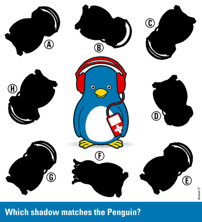 shadow match: Childrens educational puzzle - match the shadow to the cute cartoon penguin with music player from an assortment of eight different silhouette shapes, vector illustration Illustration