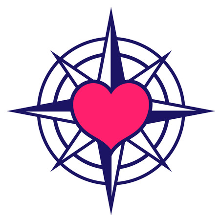 Navy colored starred compass icon with pink heart at centre depicting search for love for use as a design element, vector illustration Illustration