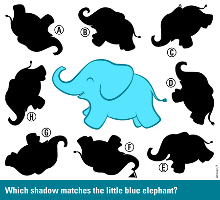 Kids educational puzzle to stimulate the intelligence - Which shadow matches the blue elephant - with a cute cartoon elephant surrounded by different shadow silhouettes to choose and match, vector