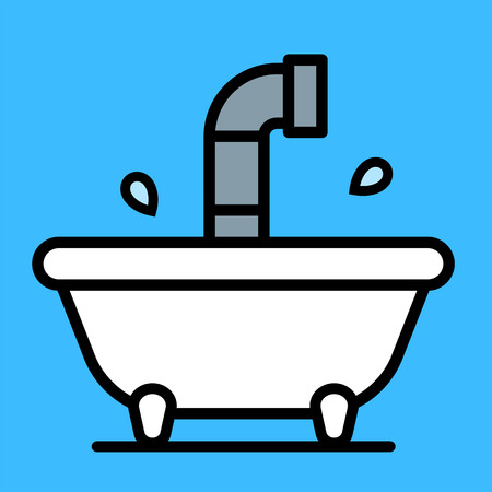 periscope: Conceptual cartoon bathtub with a periscope rising above the water from a submersible craft over a blue background, vector illustration
