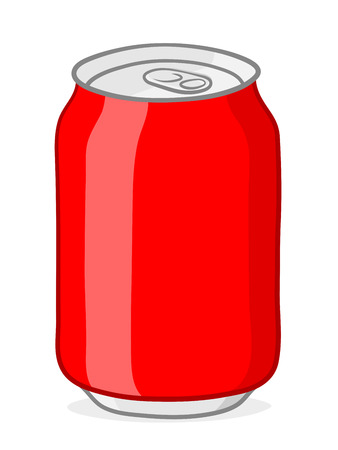 ring pull: Vector of blank red soda can with silver top and ring pull on white background Illustration