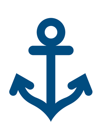 flukes: Blue anchor symbol icon over white background Illustration