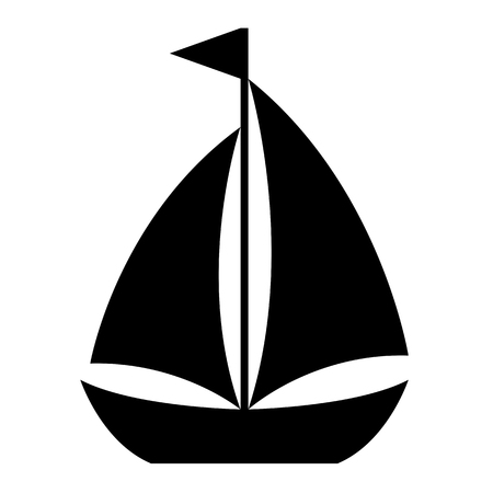 vessel: Simple cartoon sailboat icon of a small sailing vessel with two sails flying a flag from the mast in side view, design element on white, vector illustration