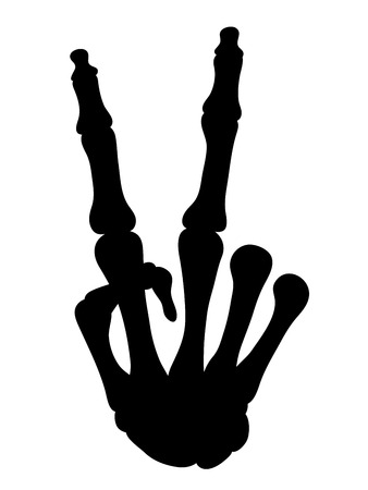 militant: Black silhouetted skeletal hand bones making a V-sign gesture for peace, victory or making a political statement and activism, vector illustration isolated on white