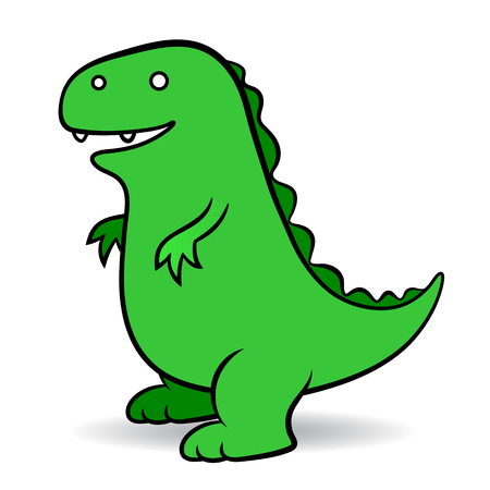 Green cartoon Godzilla, a fictional giant monster portrayed as an amphibious reptile resembling a dinosaur, simple vector comic illustration suitable for kids on white