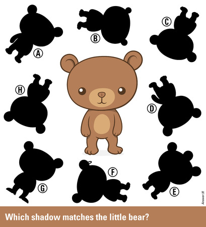 shadow silhouette: Childrens educational puzzle - match the shadow to the cute cartoon bear teddy from an assortment of eight different silhouette shapes, vector illustration Illustration