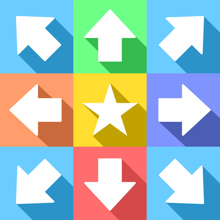 multidirectional: White trend arrows and star for web icons or navigation menu, with long shadows, on pastel colors