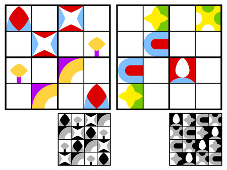 two children: Colorful children sudoku puzzle with multicolored geometric patterns in the squares in the grid for mental stimulation and entertainment with two variations and answers, vector design