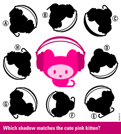 educative: Educative game for children meant to stimulate intelligence through matching young kitten with pink headphones with the right shadow, cute vector cartoon illustration