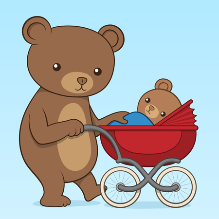 stroll: Mother bear pushing her cute little cub in a colorful red buggy or pram, vector cartoon illustration as she takes it for a family walk outdoors
