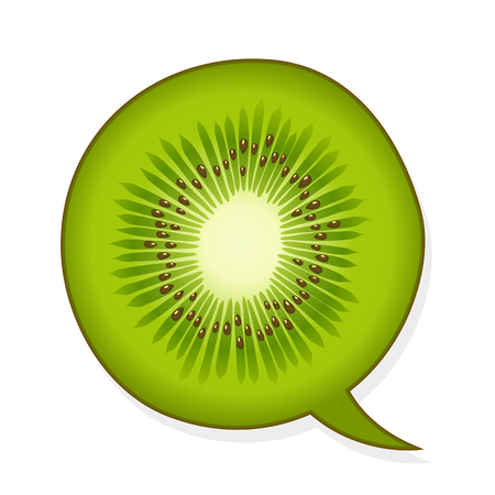 Speech bubble in the shape of a juicy green tropical kiwifruit slice with an open centre with copyspace , vector illustration