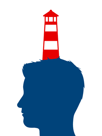 profile silhouette: Colorful red and white striped lighthouse balanced on the profile silhouette of a mans head in a conceptual image, vector illustration on white Illustration