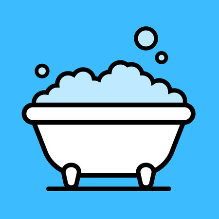 Cute cartoon bathtub with a bubble bath of frothy foam inside over a blue background, vector illustration