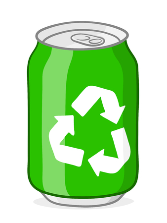 soda: Vector of green soda can with white recycle symbol and silver top and ring pull on white background illustration