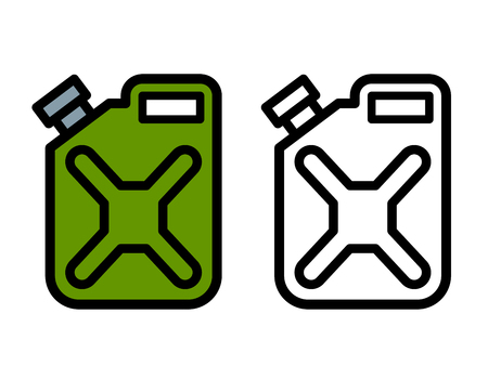 storing: Two outline drawings of cartoon fuel canisters or jerrycans for carrying and storing fuel, one green and one black and white in side view, vector illustration Illustration