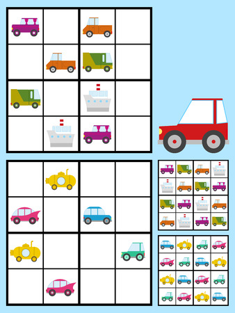 sudoku: Recreational game for kids with a sudoku puzzle with colorful cars automobiles to fill the grid in two variations with answers, vector design Illustration
