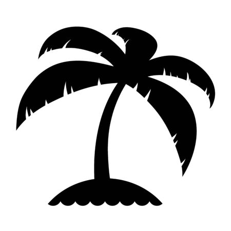 Travel and tourism icon of simple a black silhouette palm tree on an island conceptual of a summer vacation in the tropics, vector illustration Illustration