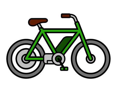 commuter: Single isolated empty green mens e-bike bicycle depicting ecological transportation as simple vector icon over white background