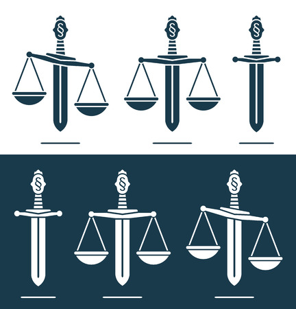 broadsword: Scales of justice on a broadsword with a paragraph symbol on the handle conceptual of power, justice, and misuse of power in a set of three in two different variations of blue and white Illustration