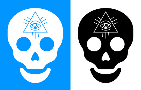 third eye: Third eye symbol over human skull icon for concept about death and seeing into the future