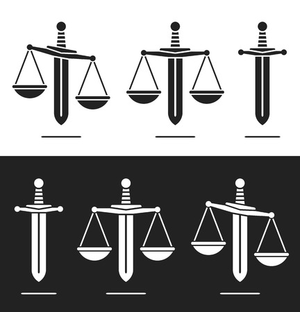 Scales of justice on a sword silhouette icon in a set of three with equilibrium and imbalance conceptual of power and misuse or abuse of power