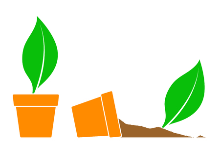 potting soil: Two potted plant icons with green leaves, one fallen on its side with the soil spilling out, simple silhouette illustration Illustration