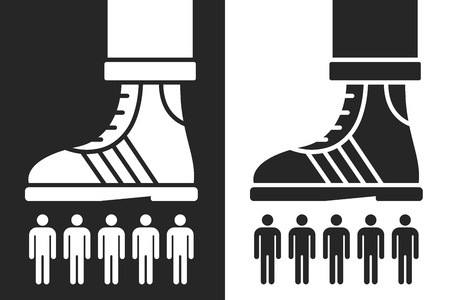 overbearing: shoe scrunching a group of people in a conceptual design of dominance or crushing the competition or workforce, two reverse black and white silhouette color variations