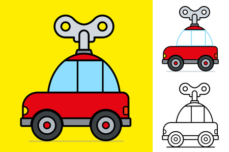 Cute little red cartoon windy car with a large mechanical key on a yellow background for kids