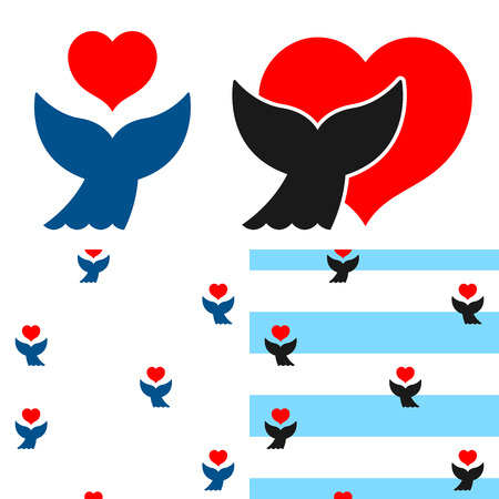 Whale fluke and red heart icon and two seamless background patterns with a set of four different simple, silhouette cartoon designs
