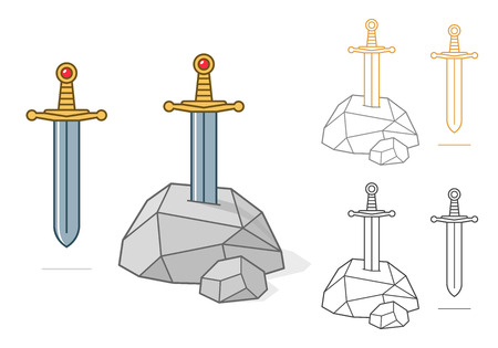 illustration of excalibur theme sword and stone as colored and outlined icon, avatar or symbol over white background
