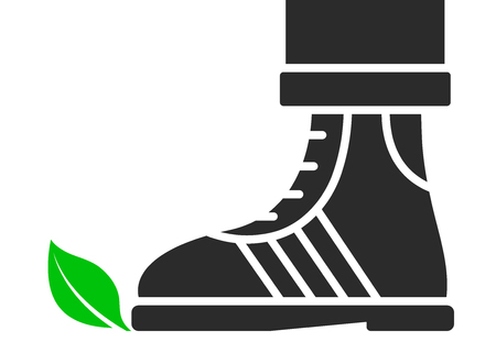 Green leaf being trodden on by a shoe in a simple cartoon silhouette design on white with copy space