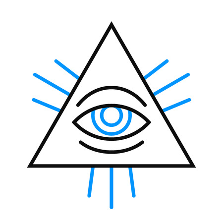alertness: Isolated single human eye symbol inside a pyramid with blue lines for pupil and rays over white illustration