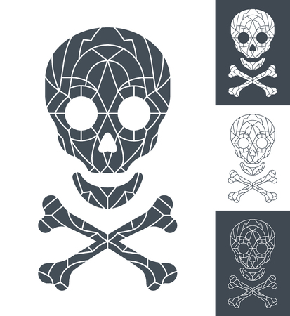 mortality: skull and crossbones with mosaic pattern in four different grey and white color variations for conceptual themes of horror, terror, Halloween, poison or piracy
