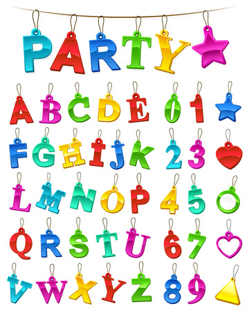 hanging string: Complete colorful festive alphabet and numbers set in the colors of the rainbow designed as hanging tags on a string with the word Party as a header