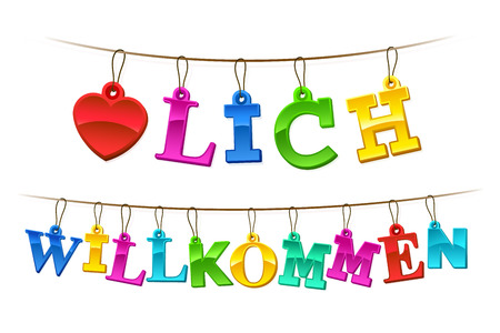 willkommen: Herzlich willkommen welcome sign in German with a symbolic red heart and letters formed of hangings rainbow colored tags on a string forming a greeting banner or garland