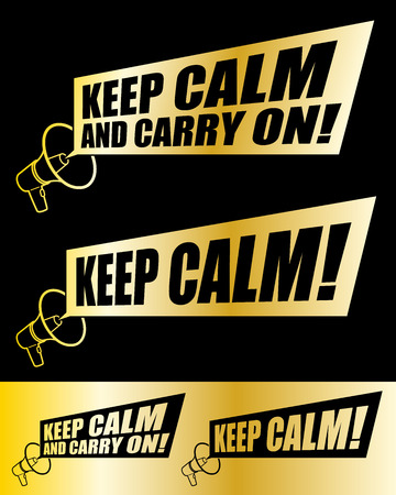 speaking tube: Megaphone and Keep Calm with a rectangular banner style speech bubble in two different gold designs with color variations