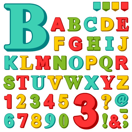 Brightly colored complete upper case set of alphabet letters and numbers in red, green, blue and yellow with assorted punctuation marks illustration design elements Illustration