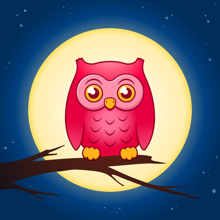 it is full: Cartoon owl perched on a twig looking at the camera with a full moon behind it Illustration