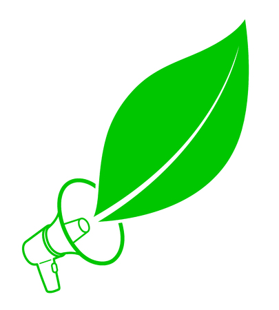 activist: Ecological activist concept with a megaphone and fresh green leaf icon as a simple outline and drawing on white Illustration