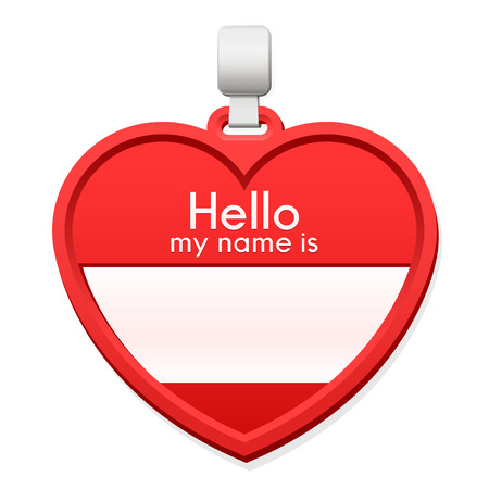 personalised: Red name tag in the shape of a heart with personalised text and blank copy space for the name on a hanger over a white background