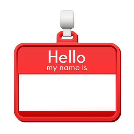 politeness: Colorful red name tag hanging from a hanger with blank copy space and a greeting - Hello, my name is - over a white background