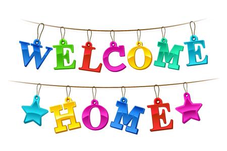 bienvenida: Bienvenido Inicio Bandera colorida con el diseño de las letras como colgar etiquetas en una cadena con dos estrellas para una festiva celebración homecoming ilustración en blanco Vectores